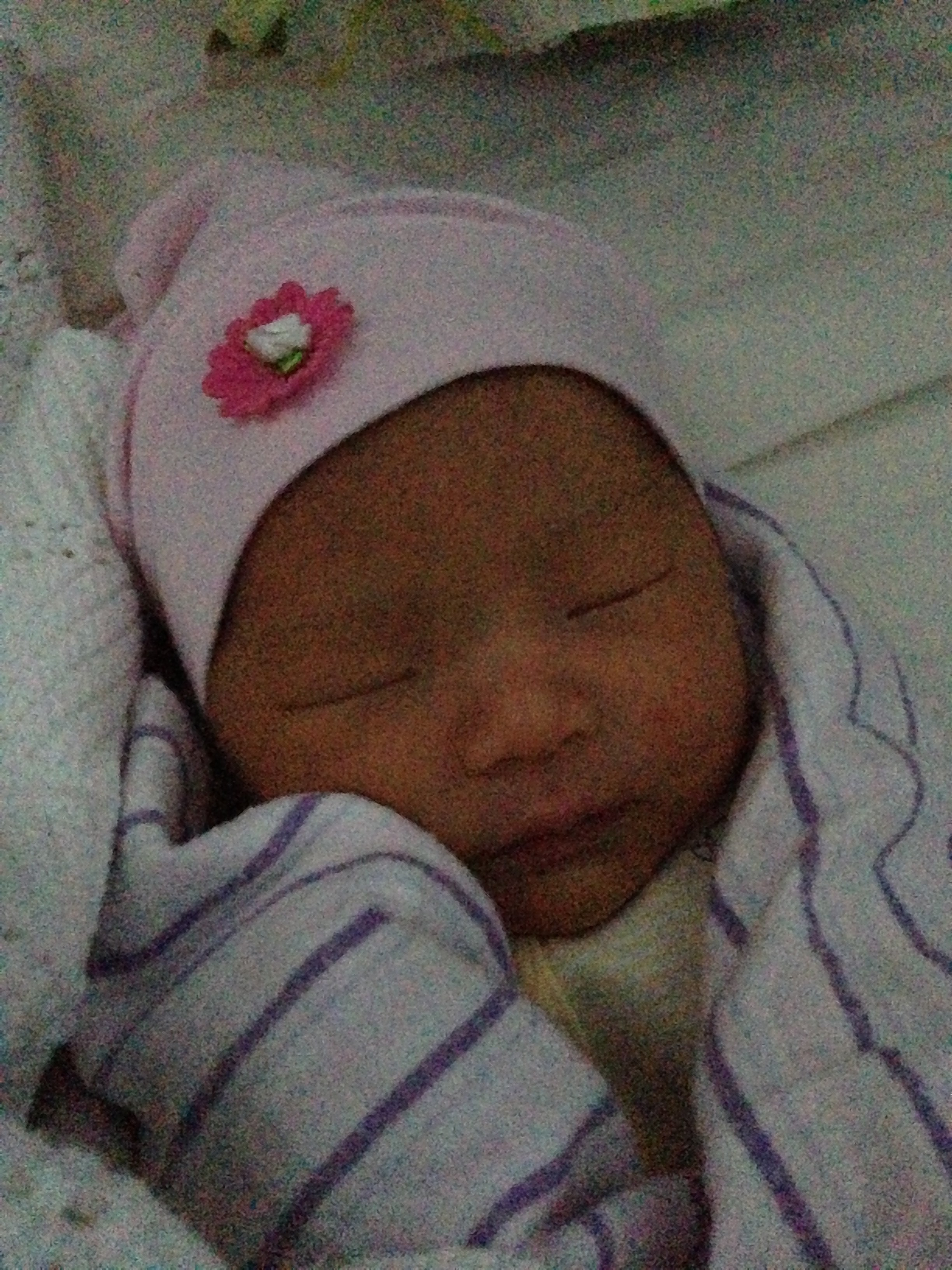 Baby Alina sleeping on day 4.