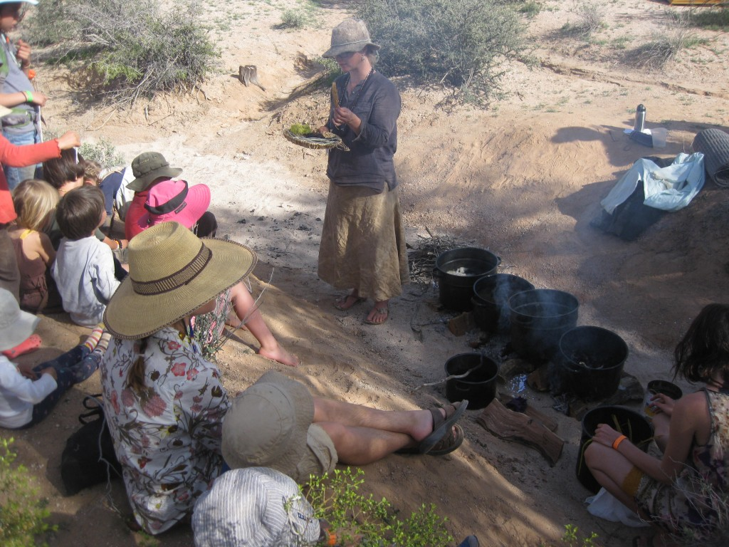 The plant dye class had vats of dyes over open fires in the arroyo.